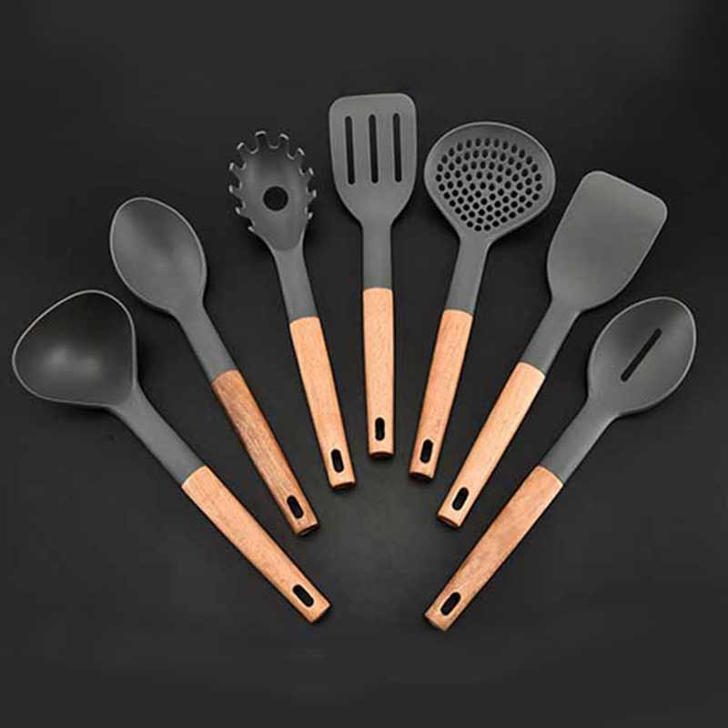 7pcs set wood nylon kitchen utensil set nonstick utensils