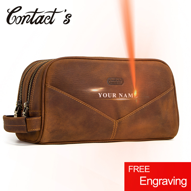 Vintage Cosmetic Bag Crazy Horse Genuine Leather Make Up Box Travel Tote Bag Cosmetics Pouch Bags
