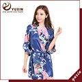 PR003 Mulheres Impresso Floral Robe Kimono Vestido de Noiva Da Dama de Honra Vestido Chinês estilo de Cetim de Seda Robe Camisola Flor S M L XL XXL