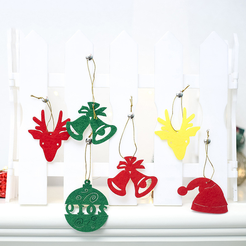 6Pcs Mixed Colors Felt Christmas Ornaments 2019 Bells Santa Claus Deer Hanging Pendant for Tree Home Decor Supplies