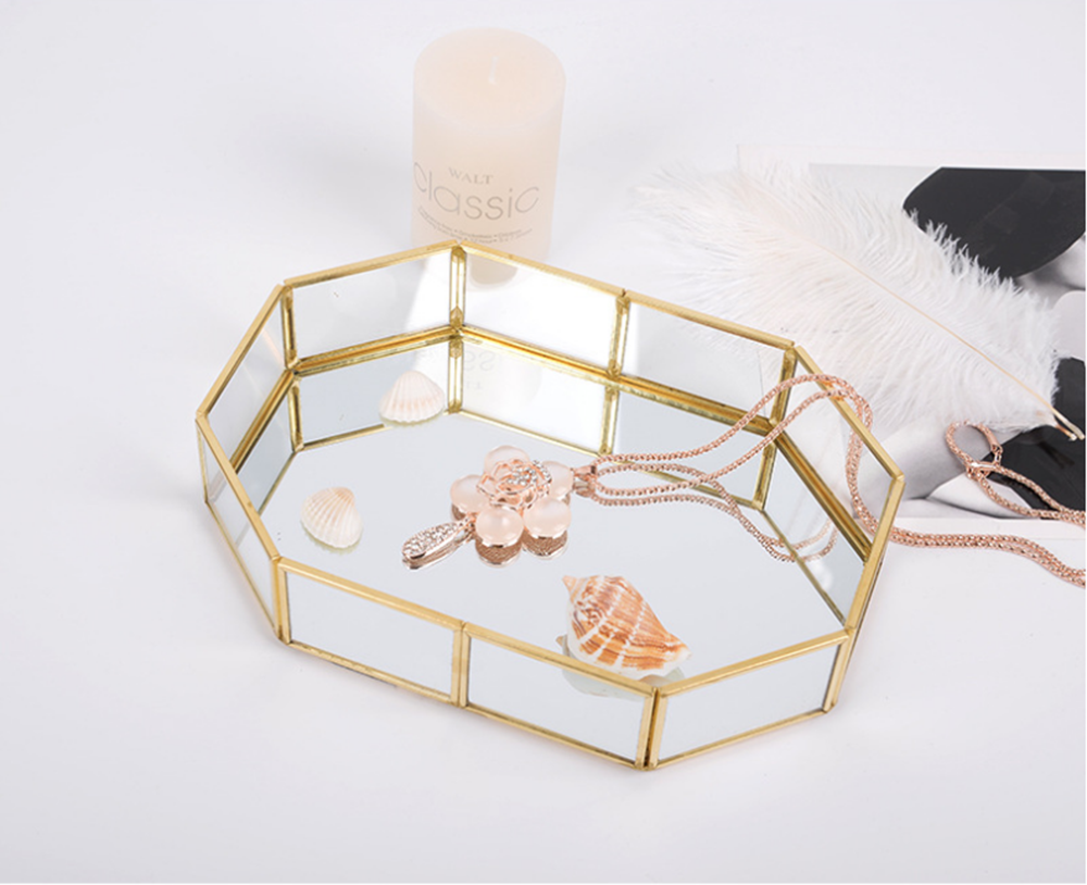 YOLALA Nordic Style Glass Copper Geometry Storage Baskets Box Simplicity Style Home Organizer for Jewelry Necklace Dessert Plate in Storage Baskets from Home Garden