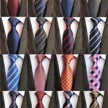 Классические галстуки 8 см для мужчин, Шелковый галстук, роскошный полосатый клетчатый деловой шейный галстук для мужчин, галстуки для свадебной вечеринки