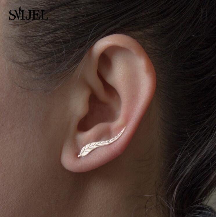 SMJEL 2017 Fashion Feather Women Earrings Boho Long Vintage Leaf Stud Earrings ear Cuff Jewelry Accessories Gift