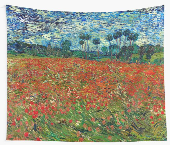 1890 Vincent Van Gogh Poppy Field Wall Tapestry Cover Beach Towel Throw Blanket Picnic Yoga Mat Home Decoration Tapestry Aliexpress