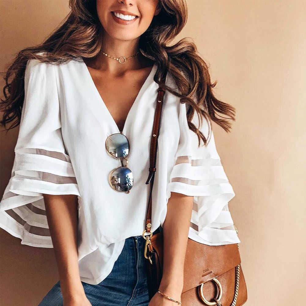 4d76e74bffe 2018 Новые Летние Стильные женские милые шифоновые блузки повседневные  расклешенные рукава рубашки белые свободные топы