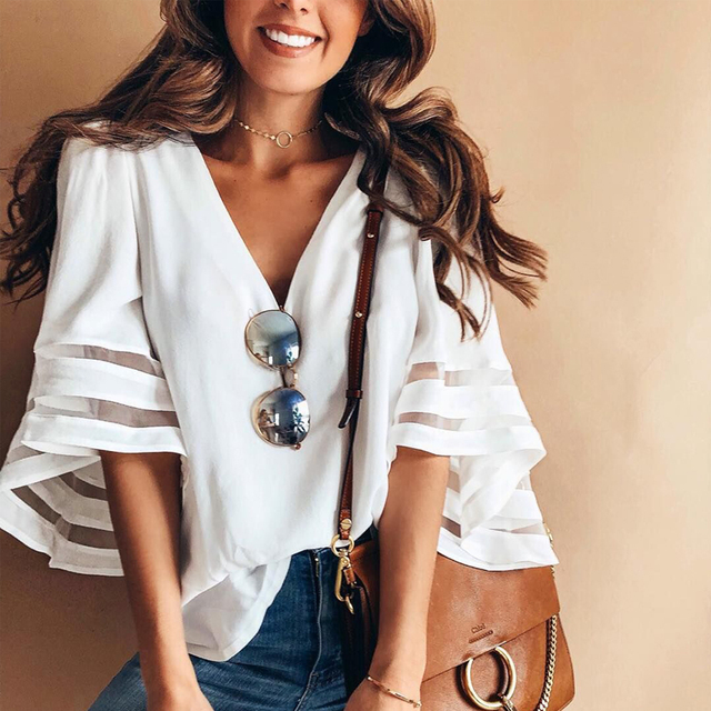 97c571908753e7 2018 Summer New style women cute chiffon blouses casual flare sleeve shirts  white loose tops