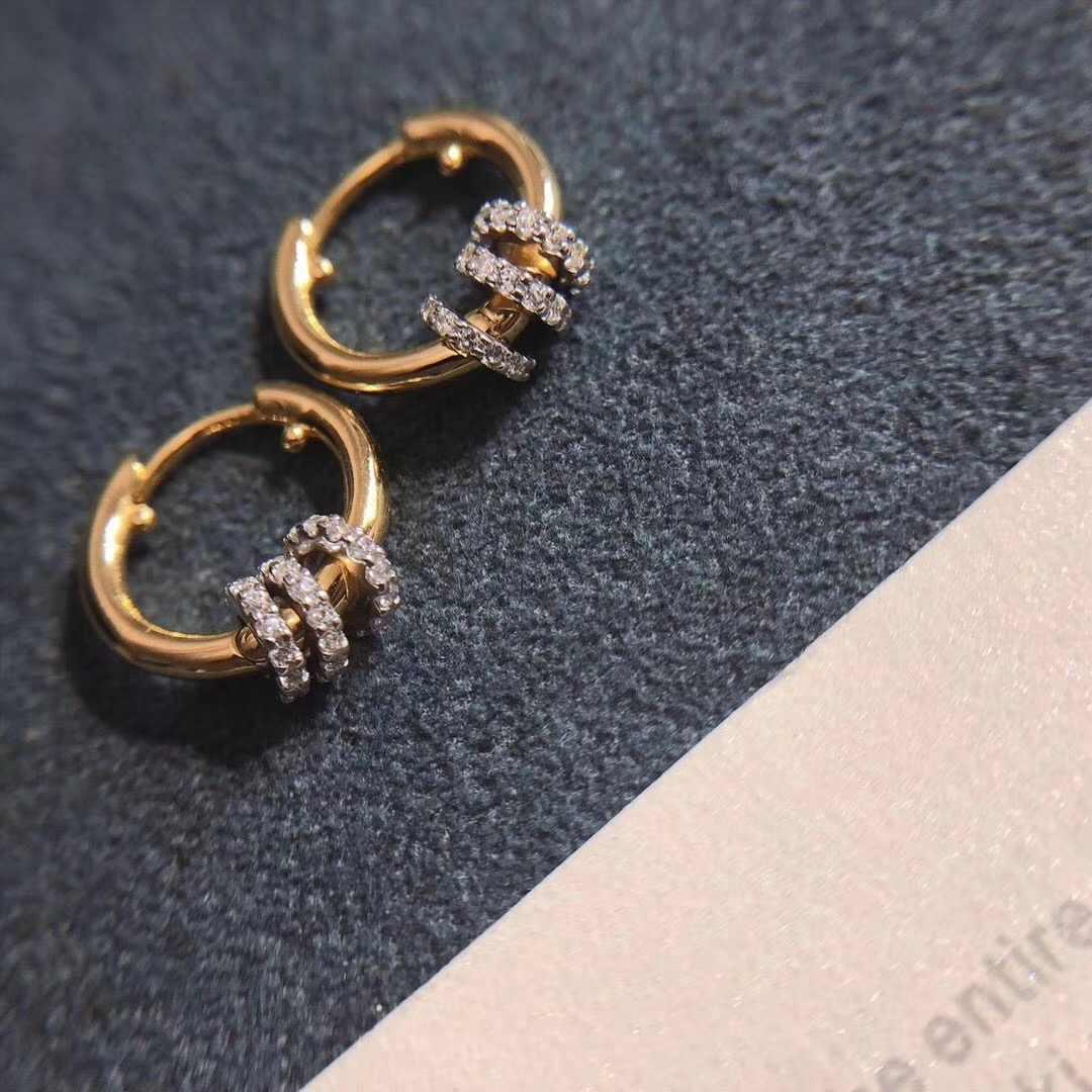 תוספות-APM יוני זהב כסף יהלומי עגילי עם הזזה טבעות אישיות אופנה TOI ET MOI