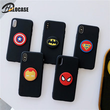 Cute Cartoon Batman Spiderman Iron Man Captain America Soft Silicone Phone Case For iPhone X XR XS MAX 8 7 6 6s Plus Coque Capa