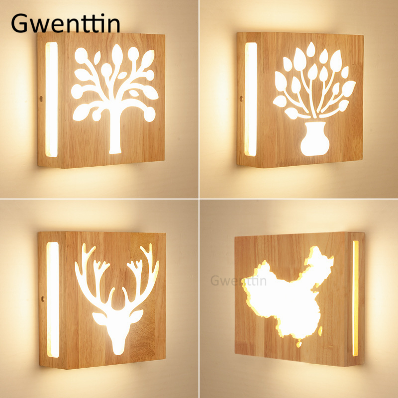 Nordic Square Wood Wall Lamp Deer Tree Wall Lights for Home Living Room Bedroom Stairs Lamps Led Sconce Luminaire Home Art Deco