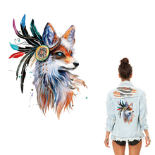 Animal Patches Iron on Clothes Big The Fox Thermo Stickers Applique Clothing Application DIY Jacket T-shirt Washable