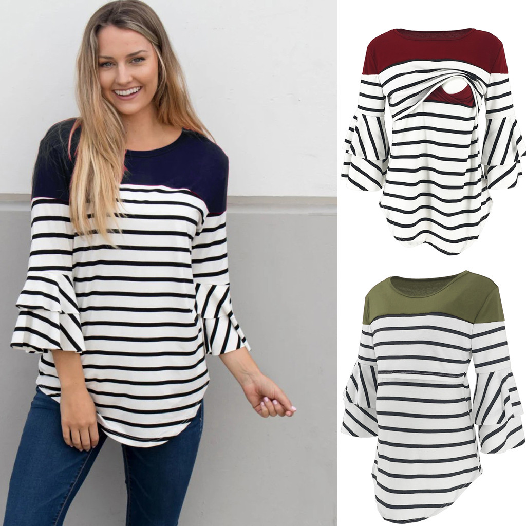 Women Pregnancy Breastfeeding Clothes Womens Clothing Pregnant Nusring Maternity Pagoda Sleeve Tops Splicing Stripe Blouse Tops