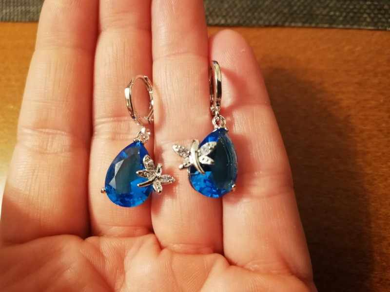 90% Off! Original 925 Sterling Silver Jewelry Set Blue Water Drop Cubic Zirconia CZ Dragonfly Necklace Earring Wedding Accessory