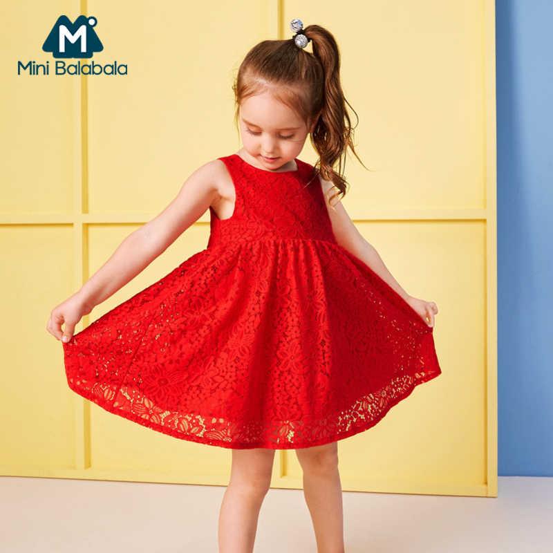 MiniBalabala/мягкое кружевное платье без рукавов для маленьких девочек с галстуком-бабочкой сзади, детские платья на подкладке из 100% хлопка с v-образным вырезом сзади