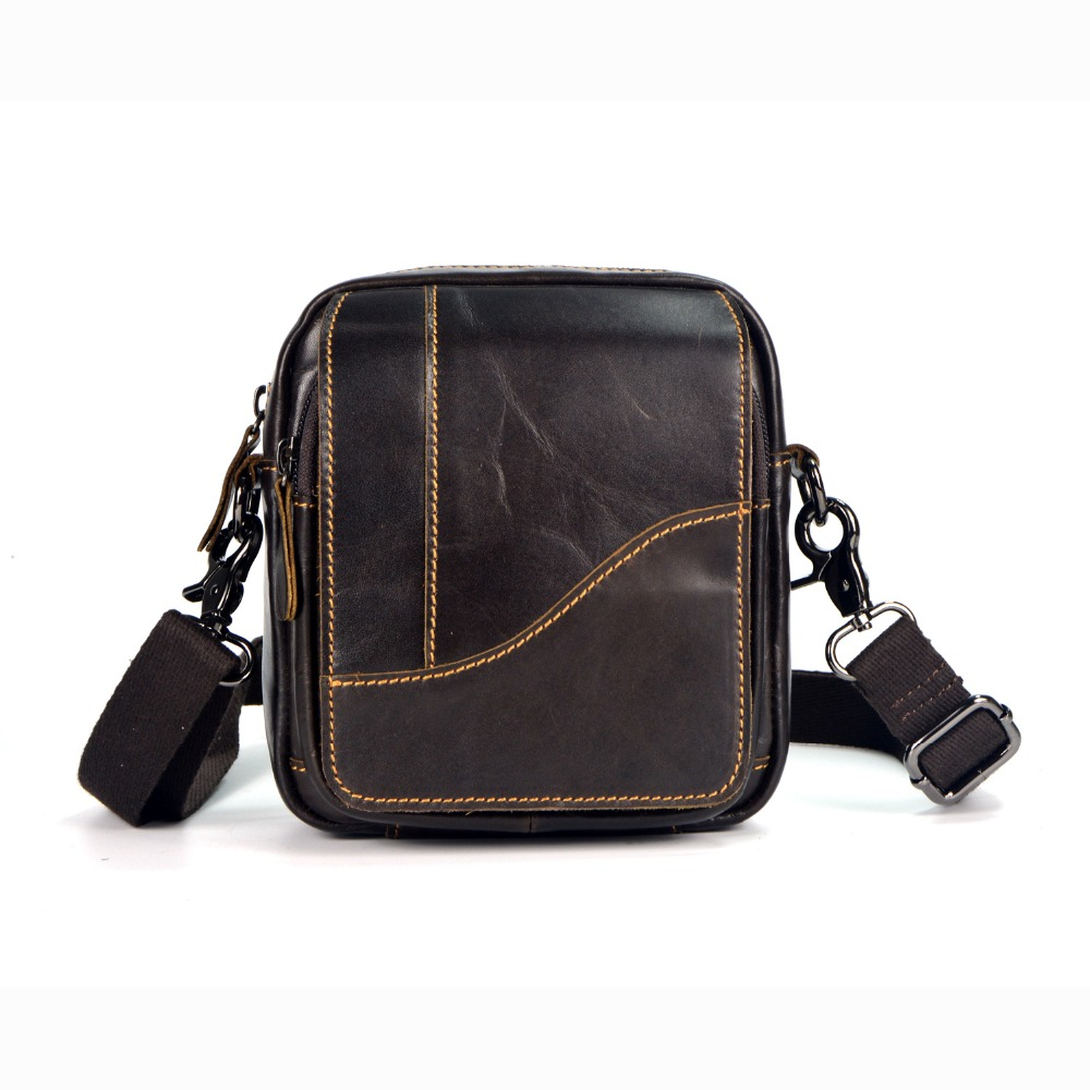 Genuine Leather Messenger Bags for Men travel Male Mini Crossbody bag Phone Pouch Small Shoulder Bags Belt Waist Pack Handbags