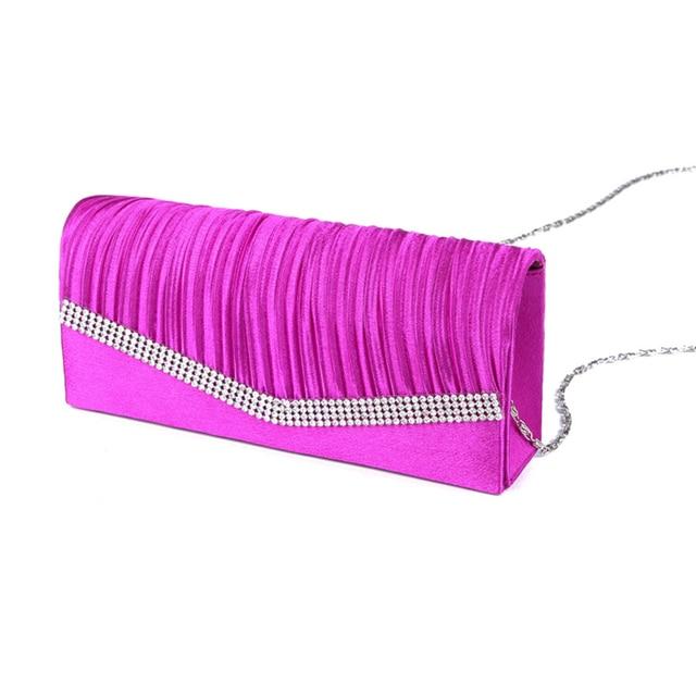 Women Satin Clutch Bag Rhinestone Evening Purse Ladies Day Clutch Chain Handbag Bridal Wedding Party Bag Bolsa Mujer 2018 XA1080 3