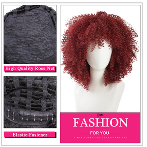 Image 5 - Amir Afro Kinky Curly Short Wigs for Black Women  Mix Brown color Synthetic Wig with combs inside Cosplay