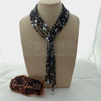N011427 49 3 Rows Mixed Color Stone Gray Rice Pearl Necklace