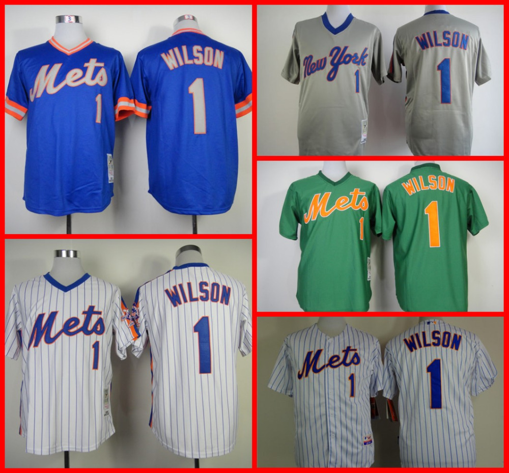 135612979 ... New York Mets 1 Mookie Wilson Jerseyshirt Throwback Green Blue Grey  White Pullover cheap stittched baseball Genuine Leather MLB Jerseys ...