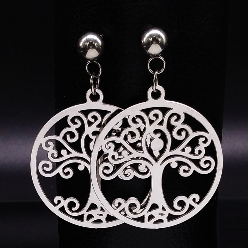 2017 Silver Color Stainless Steel Tree of Life Stud