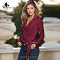 WomensDate 2016 Hot Sale Blouses-Shirts Autumn Winter Large Size Women Long Sleeved V-Neck Blouses Shirt Femmes Chemise