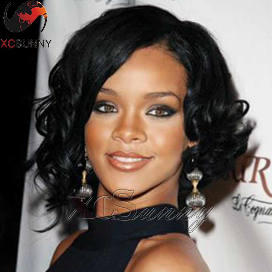 Rihanna Loose Curl Short Human Hair Bob Wig Human Hair