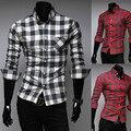 El nuevo 2015 de manga larga camisa a cuadros informal camisas de hombre