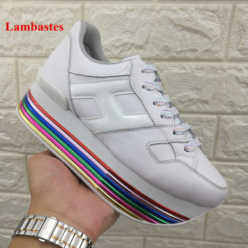 White Sneakers Shoes Women 2018 New Leather Lace Up High Platform Women Flats Height Increasing Casual Shoes Chaussures Femmes недорго, оригинальная цена