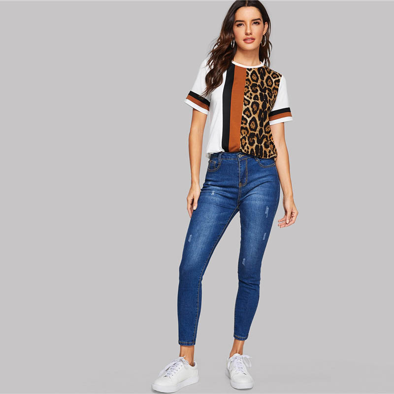 SHEIN Color Block Cut-and-Sew Leopard Panel Top Short Sleeve O-Neck Casual T Shirt Women 19 Summer Leisure Ladies Tshirt Tops 14