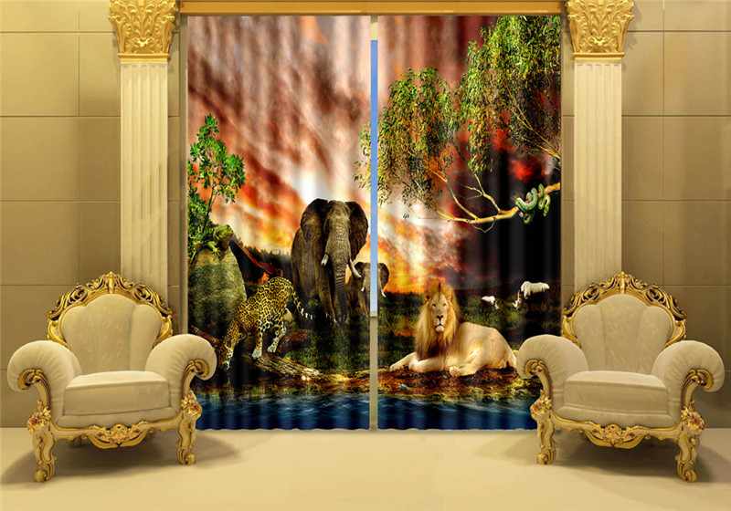 Curtains Luxury Blackout 3D Window Curtains For Living Room kias Bedroom Cortinas Drapes Rideaux Customized size Lion elephantCurtains Luxury Blackout 3D Window Curtains For Living Room kias Bedroom Cortinas Drapes Rideaux Customized size Lion elephant