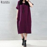 Long Maxi Dress ZANZEA 2016 Elegant Women O Neck Long Sleeve Pockets Solid Loose Casual Vintage