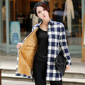 M-XXL Winter Autumn Women Plaid Thick Soft Long Shirts With Velvet Inside Female Long Sleeve Cotton Slim Blouse With Slash