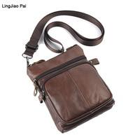 LingJiao Пай из натуральной коровьей кожи Курьерские сумки Для мужчин Путешествия Бизнес Crossbody сумка для человека Sacoche Homme Bolsa Masculina