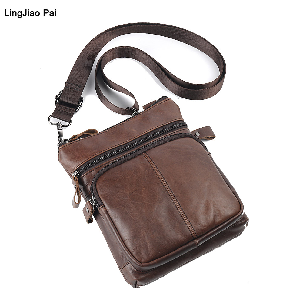 LingJiao Pai Cow Genuine Leather Messenger Bags Men Travel Business Crossbody Shoulder Bag for Man Sacoche Homme Bolsa Masculina qibolu handbag men bag briefcase business travel laptop messenger crossbody shoulder bag sacoche homme bolsa masculina mba17