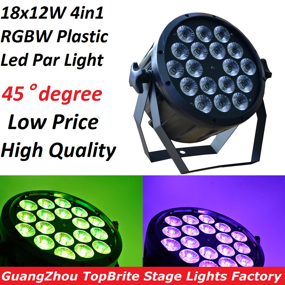 2019 Led Par Light 18x12W 4in1 RGBW Flat Plastic LED Par Can Disco Lamp Stage Lights Luces Discoteca Laser Beam Luz de Projector-in Stage Lighting Effect from Lights & Lighting