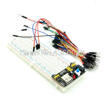 1PCS DIY KIT Protoboard MB102 830 Point Solderless PCB Breadboard with 65PCS Jump Cable Wires and starter MB-102 free shipping 300 tie points prototype solderless breadboard white
