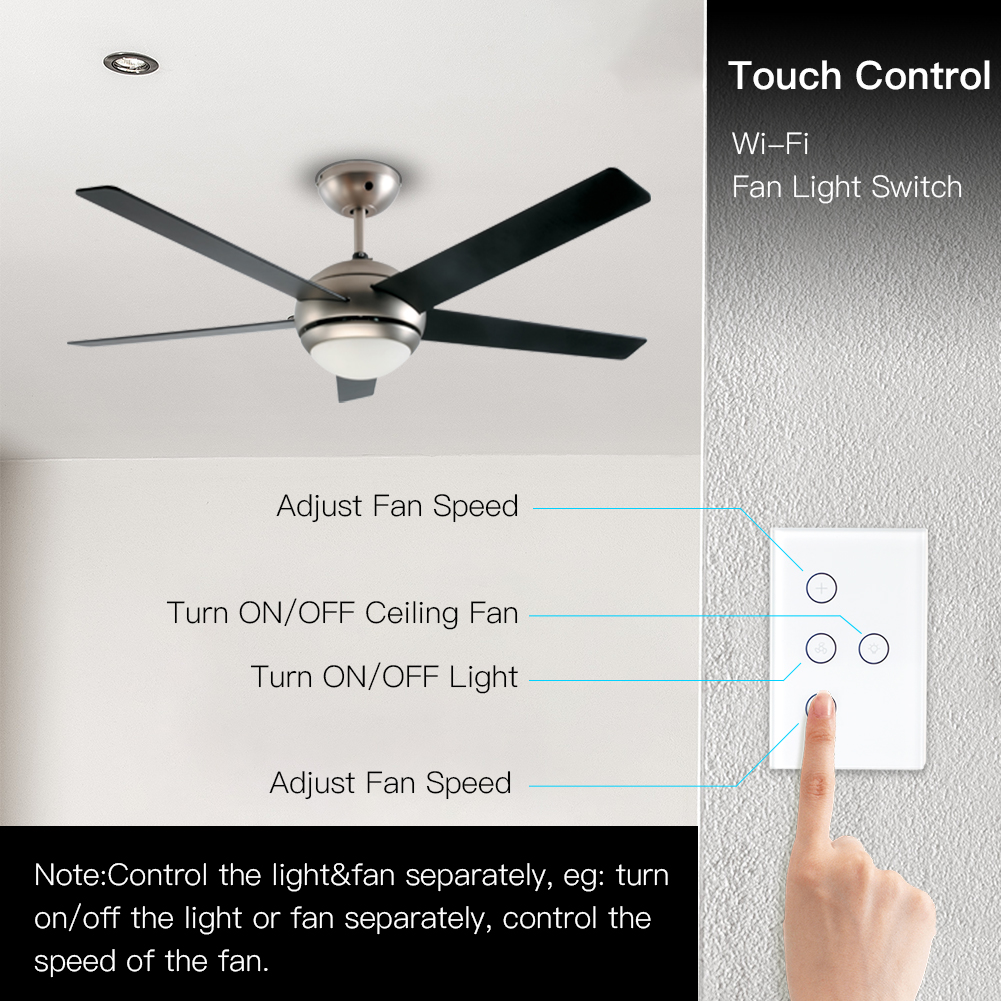 WiFi Smart Ceiling Fan Light Wall Switch,Smart Life/Tuya APP Remote Various Speed Control, Compatible With Alexa And Google Home