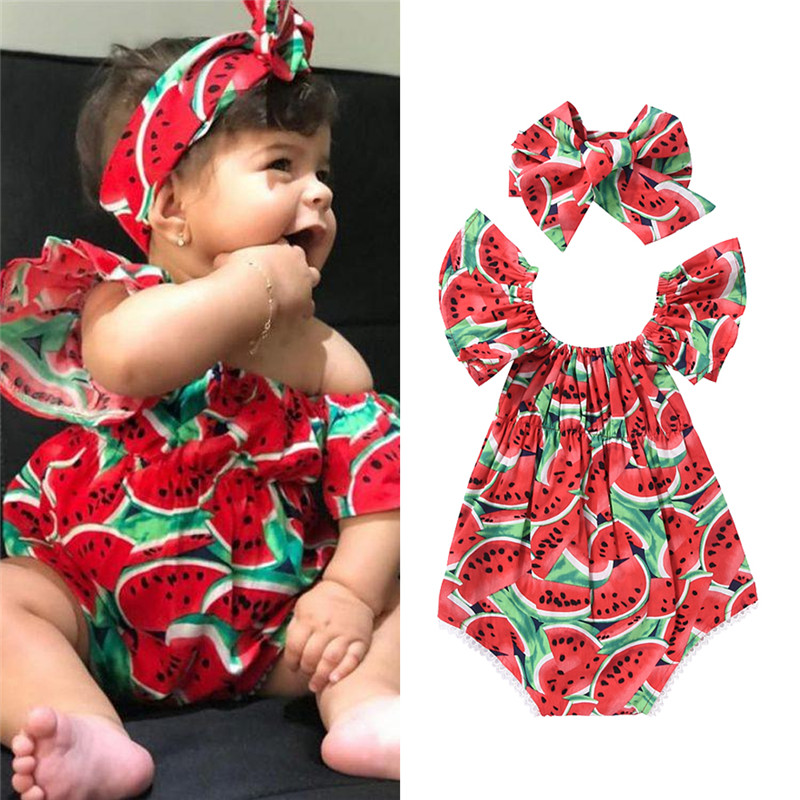 Pudcoco Baby Girl Clothes Newborn New Born Sleeveless Watermelon Printing Bodysuit+Sweet Headband 2pcs Outfits