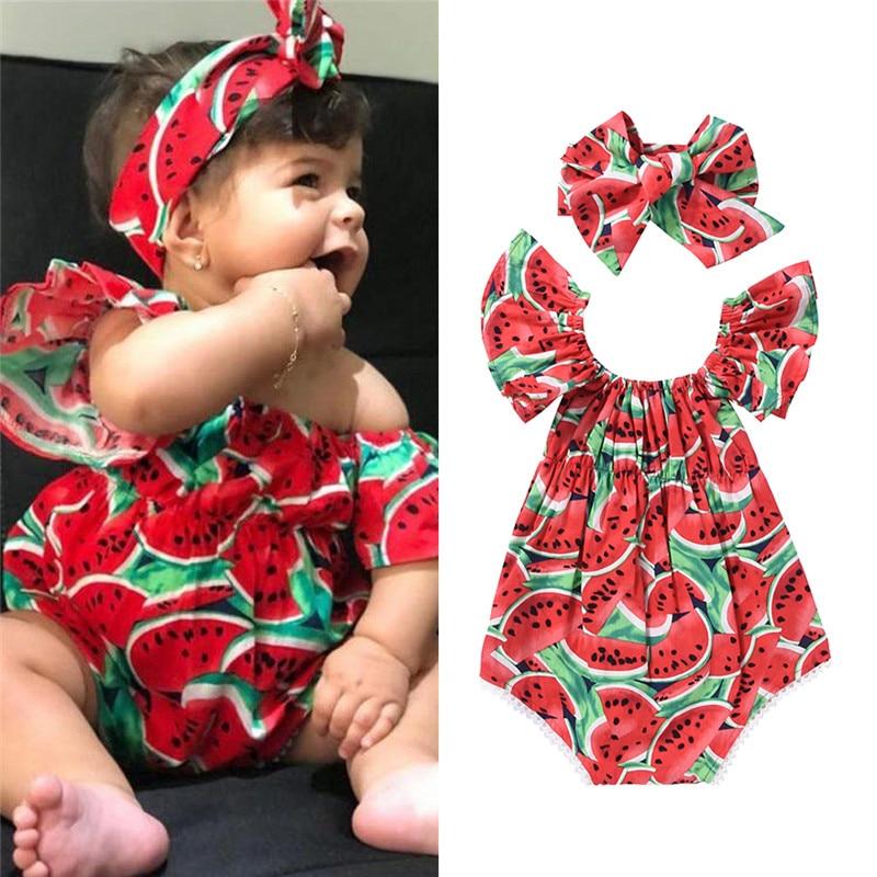 Pudcoco Baby Girl Clothes Newborn New Born Sleeveless Watermelon Printing Bodysuit+Sweet Headband 2pcs Outfits
