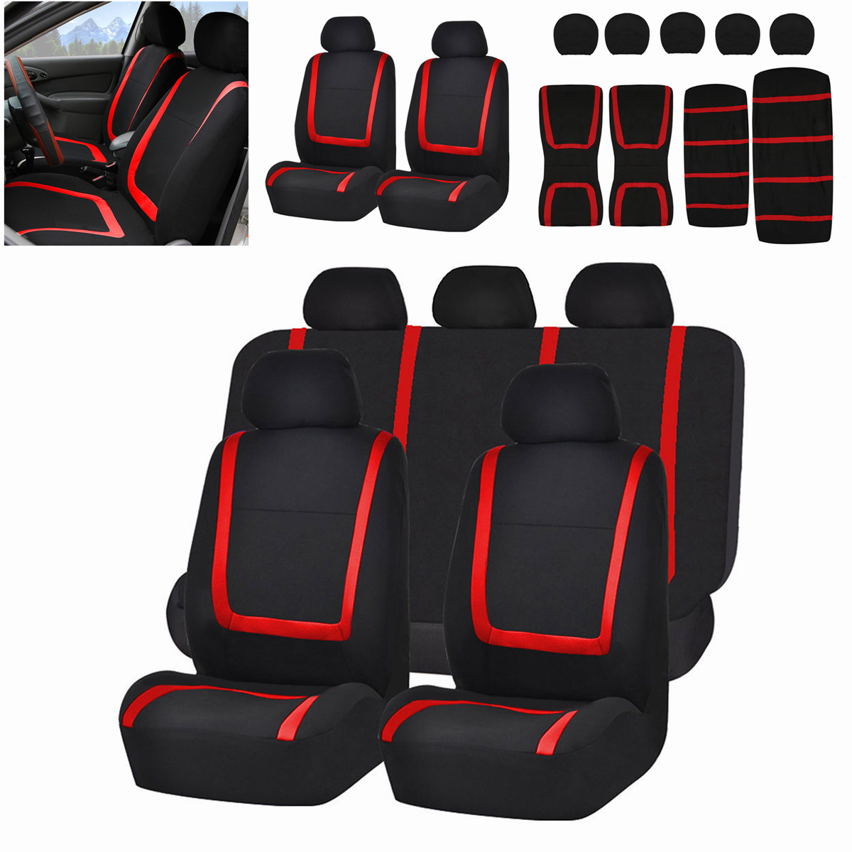 5 Heads Audew Full Set Auto Car Seat Covers Polyester Protector Front&Rear Vehicle Seat Covers Automobile Seat Protection Cover