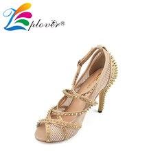 Zplover sexy black fishing net high-heeled rivets sandals women pumps peep toe high heel shoes rivet women sandals