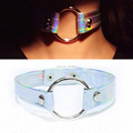 Cool 100% Handmade Colorful Holographic Choker O Round Metal Silver Laser Collar Punk Sub Slave Necklace