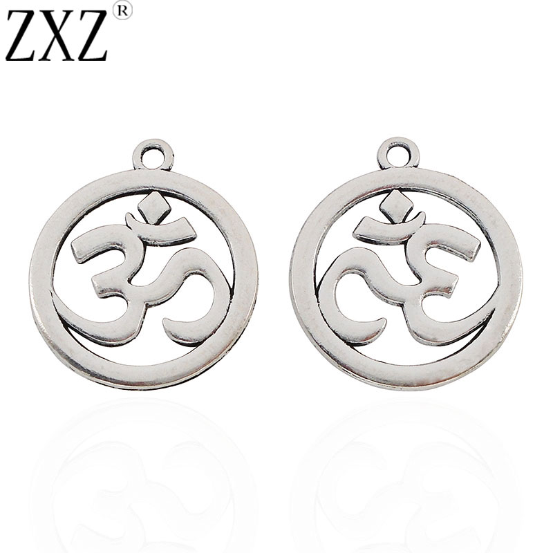 ZXZ 10pcs Antique Silver Tone OM OHM AUM Yoga Symbol Round Charms Pendants Double Sided for Jewelry Making Findings 30mm