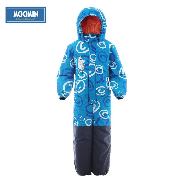Moomin 2016 new arrival inverno romper impermeável 100% poliéster enchimento de algodão romper snowsuit inverno uma peça romper azul
