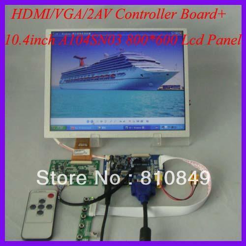 HDMI+VGA+2AV+Reversing LCD driver board+10.4inch 800*600 A104SN03 Lcd panel hdmi vga 2av reversing driver board 8inch at080tn52 800 600 lcd panel