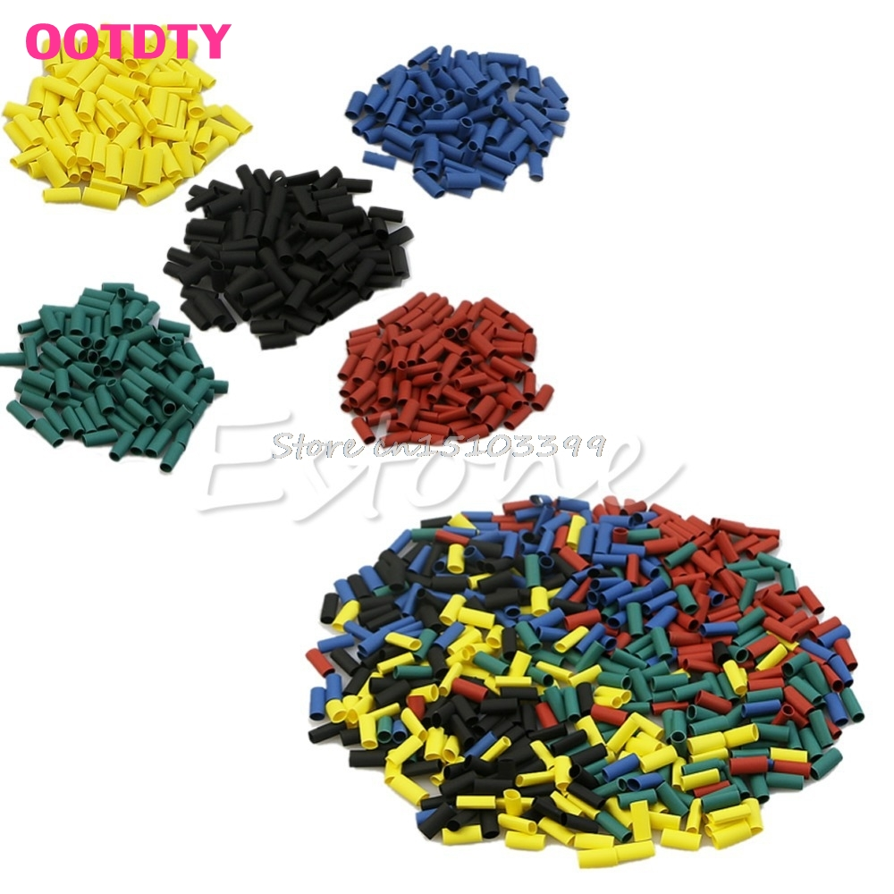 500Pcs Heat Shrink Wire Wrap Sleeve Car Electrical Cable Tube Tubing Polyolefin Drop Ship