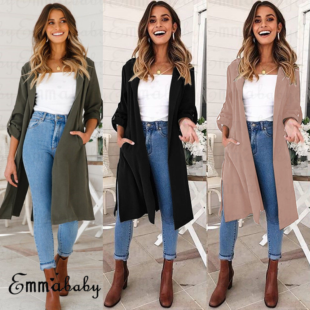 76b44076ba8 2018 Long Trench Coat Cape For Women UNIF Autumn Outfits Women s  Windbreaker Cardigan Overcoat Fashion Women Clothes Outwear-in Trench from Women s  Clothing ...
