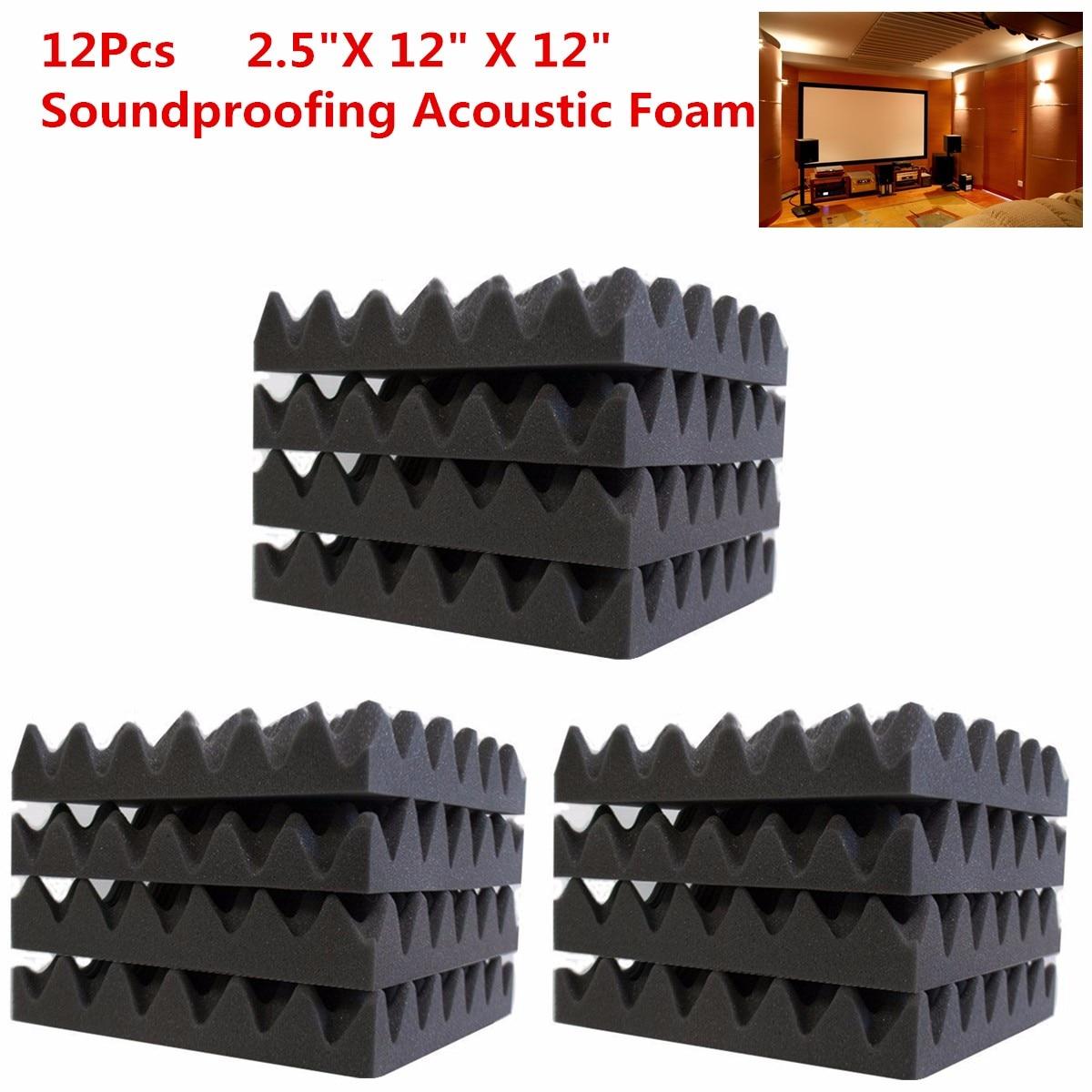 12Pcs 30*30*6cm Soundproofing Foam Acoustic Foam Sound Treatment Studio Room Absorption Wedge Tiles sound absorption coefficient analysis