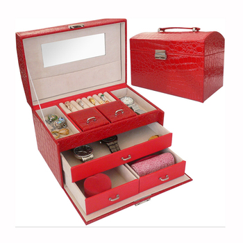 24x16x16.5CM Jewelry Box Portable Travel Organizer Jewelry with Mirror Leather Jewelry Storage Case Jewelry Display Drawers Box