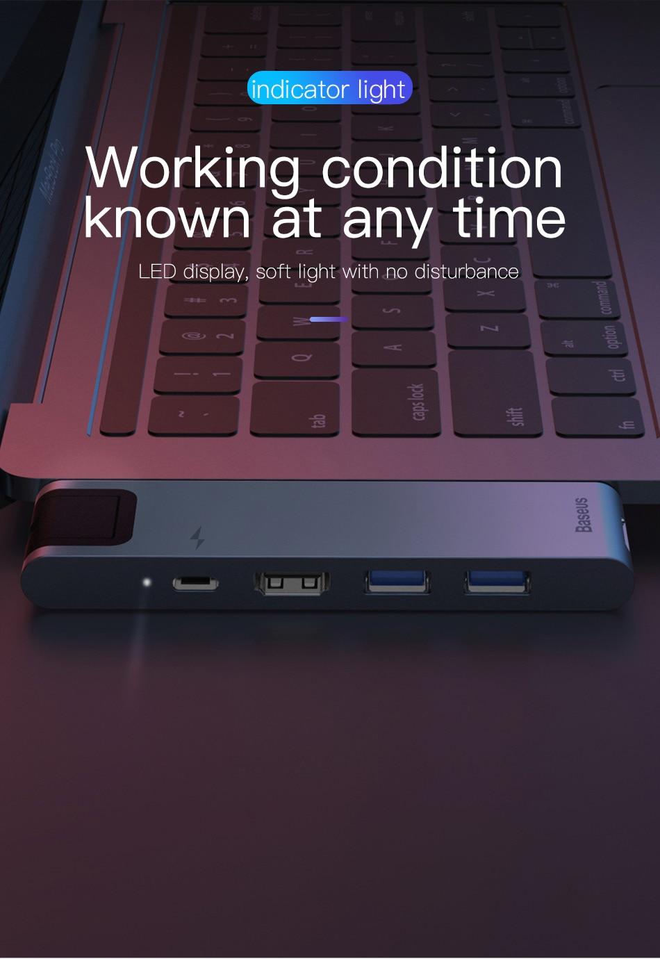 Baseus USB C HUB USB HUB to USB 3.0 HDMI-compatible Adapter