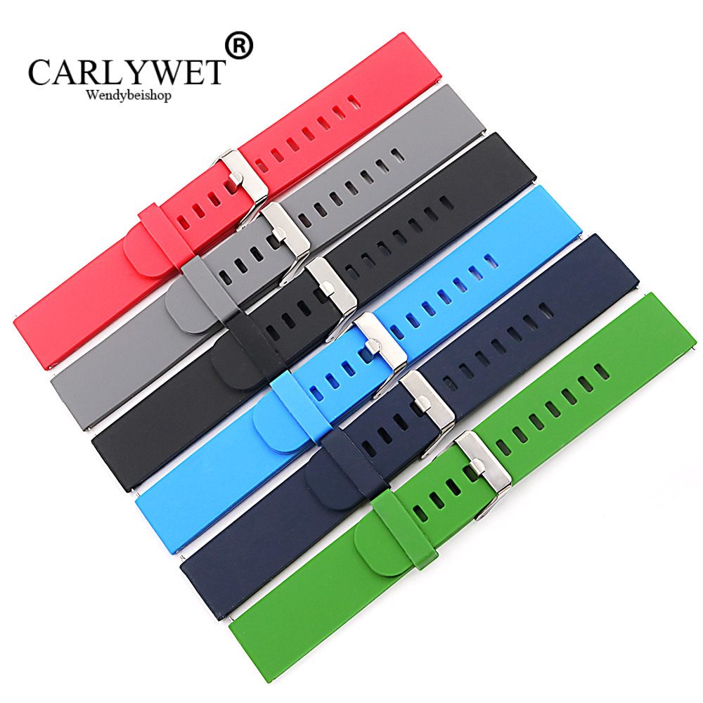 CARLYWET Brand 18 20 22mm Waterproof Silicone Rubber Wrist Watch Band Belt Strap For Samsung Galaxy Gear&MOTO 360 2nd&Ticwatch 2 carlywet 24mm hot sell newest camo waterproof silicone rubber replacement wrist watch band strap belt for panerai luminor
